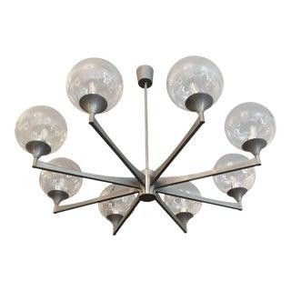 1970s Mid-Century Sciolari Italian Steel Pendant Chandelier For Sale