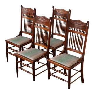 Early 20th Century Antique Stomps-Burkhardt Walnut Dining Chairs - Set of 4 For Sale