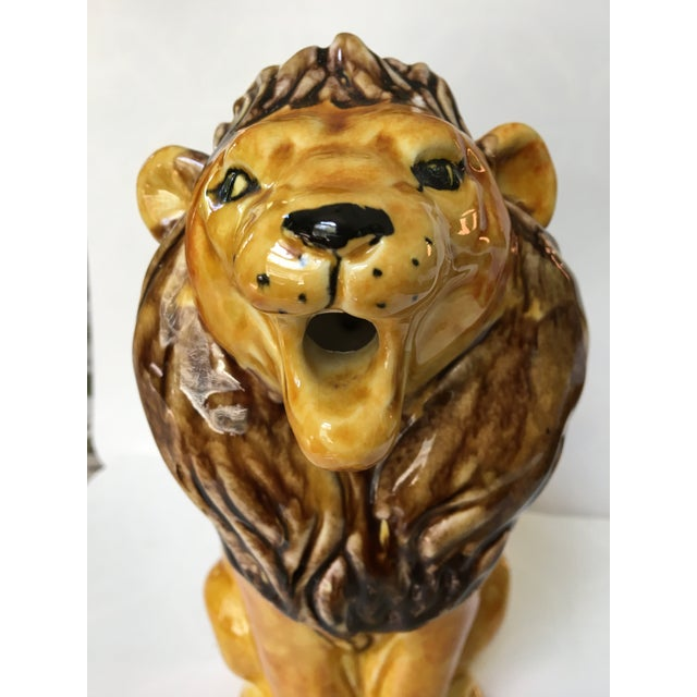 Vintage Italian Hand Painted Lion Pitcher For Sale - Image 10 of 12