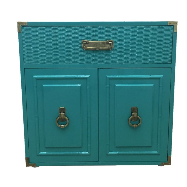 Dixie Lacquered Turquoise Faux Bamboo Credenza - Image 1 of 11