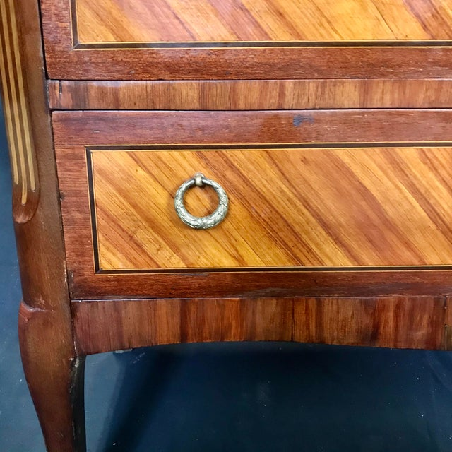 1940s Vintage French Louis XVI Style Marquetry Inlaid Petite Commode For Sale - Image 9 of 13