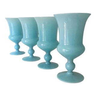 French Portieux Vallerysthal Blue Opaline Bell Shaped Goblets - Set of 4