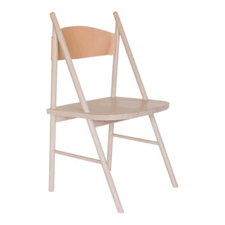 Cress Chair by Sun at Six, Nude Minimalist Side or Dining Chair in Wood, Leather For Sale