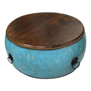 Turquoise Chinese Drum Table For Sale
