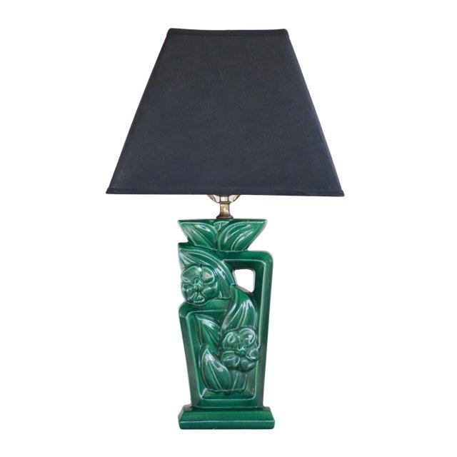 Art Deco Green Ceramic Table Lamp For Sale