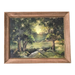"""1970s """"Green Landscape"""" Painting For Sale"""