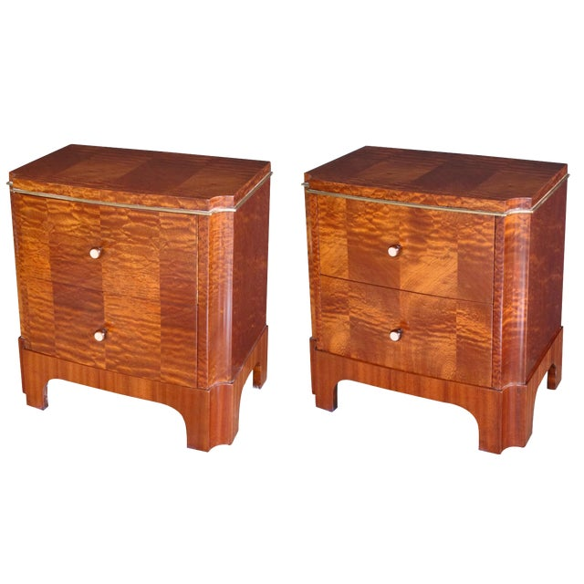 Good Pair of French Art Deco Mahogany Two-Drawer Commodes For Sale