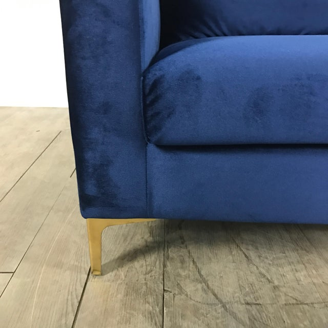 Modern Royal Velvet Navy Blue Sofa - Image 7 of 11