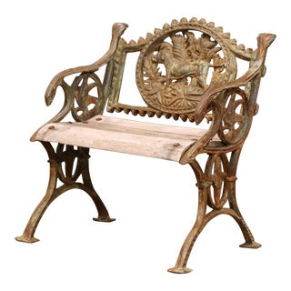 Midcentury French Iron and Teak Outdoor Armchair With Hunt Motifs For Sale