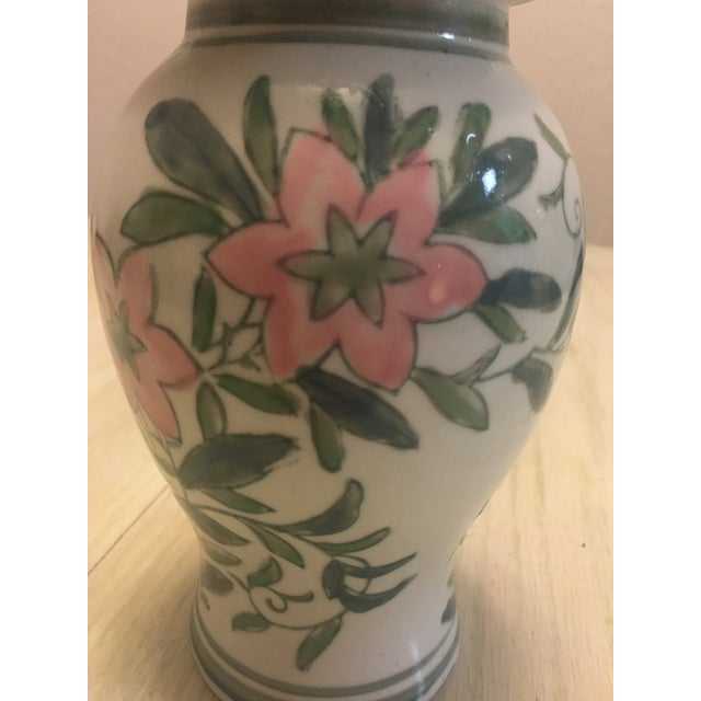 Chinese Green and Pink Floral Ginger Jar - Image 4 of 7