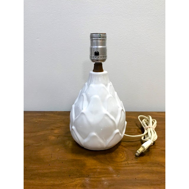 Boho Chic Vintage Small Mid Century White Artichoke Table Lamp For Sale - Image 3 of 7