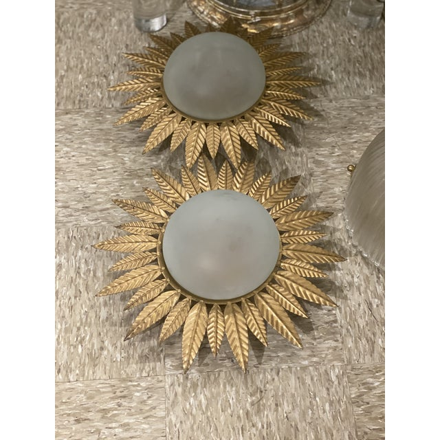 1940's Gilt Metal Sunburst Light Fixtures - a Pair For Sale In New York - Image 6 of 8