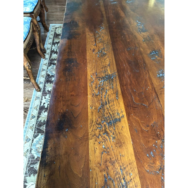 Wright Table Company Classic Distressed Hard Wood Farm Table For Sale In Philadelphia - Image 6 of 13