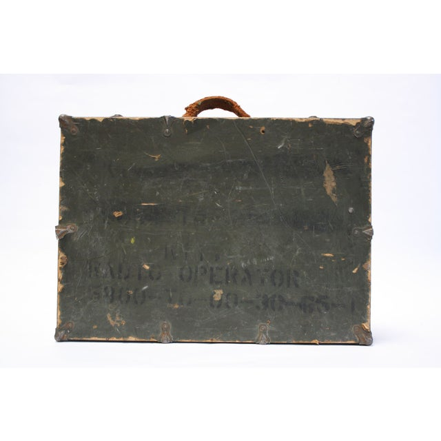 Vintage Army Green Radio Box Leather Handle - Image 3 of 7