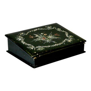 19th Century English Papier Mache Box with Mother of Pearl Inlay For Sale