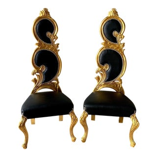 Italian Baroque Black Leather and Gold Leaf Finish Chairs- a Pair For Sale