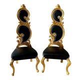 Image of Italian Baroque White Leather and Gold Leaf Finish Chairs- A Pair For Sale