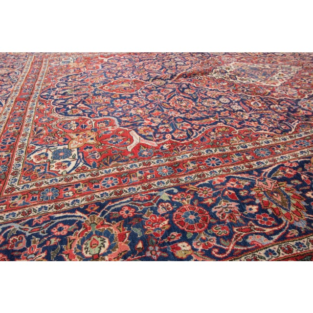 "Apadana Antique Persian Kashan Rug - 6'11"" x 10'2"" For Sale - Image 4 of 6"