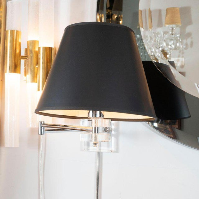 Black Mid-Century Modern Polished Chrome and Lucite Swing Arm Sconces - a Pair For Sale - Image 8 of 9