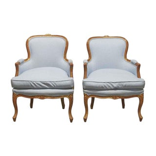 Late 19th Century Antique Blue Stuffed Wood Parlor Chairs- A Pair For Sale