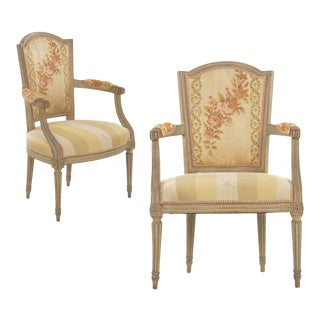 19th Century Pair of French Louis XVI Painted Antique Arm Chairs - a Pair For Sale