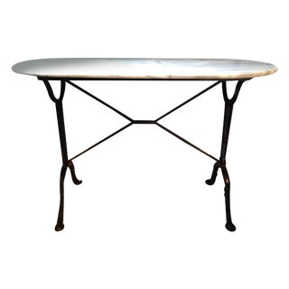 Antique French Marble & Iron Bistro Console Table For Sale