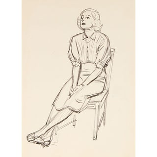 C. 1920s Woman in a Chair Ink Drawing For Sale