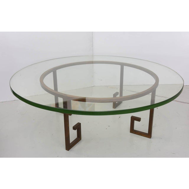 French French Modern Gilt Iron and Glass Low Table, Style of Jean Royère For Sale - Image 3 of 9