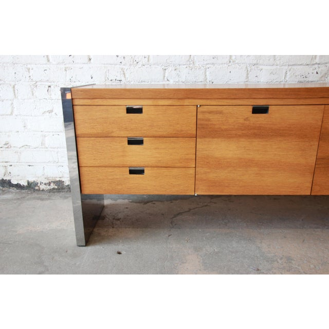 Brown Roger Sprunger for Dunbar Mahogany and Chrome Executive Credenza For Sale - Image 8 of 11