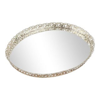 Vintage 60s Mid Century Modern Floral Silver Mirrored Bar Tray Dresser Tray For Sale