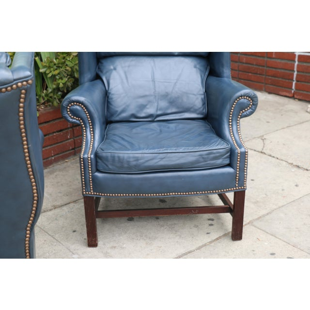 Leather Teal Wingback Chairs - A Pair | Chairish