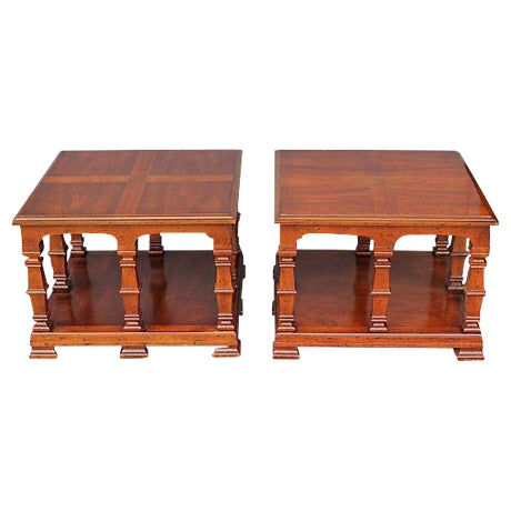 Carved & Detailed Wood End Tables - A Pair For Sale