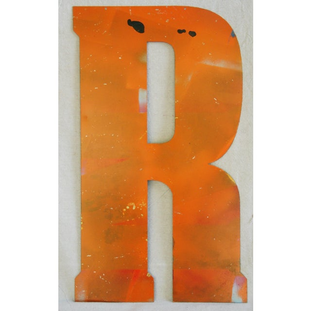 Large Orange Salvage Metal Marquee Letter 'R' - Image 2 of 3