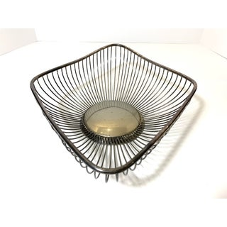 Mid-Mod Silver-Plated Marquis Shaped Wire Bread Basket Preview