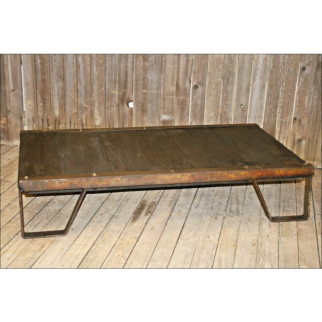 Vintage Industrial Iron & Wood Pallet Table Base - Image 7 of 11
