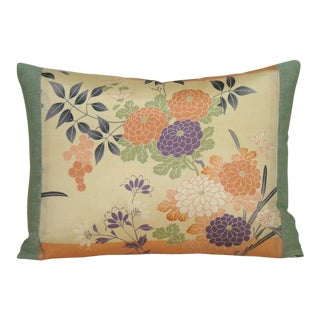 Autumn Floral Japanese Silk Obi Lumbar Pillow Cover For Sale