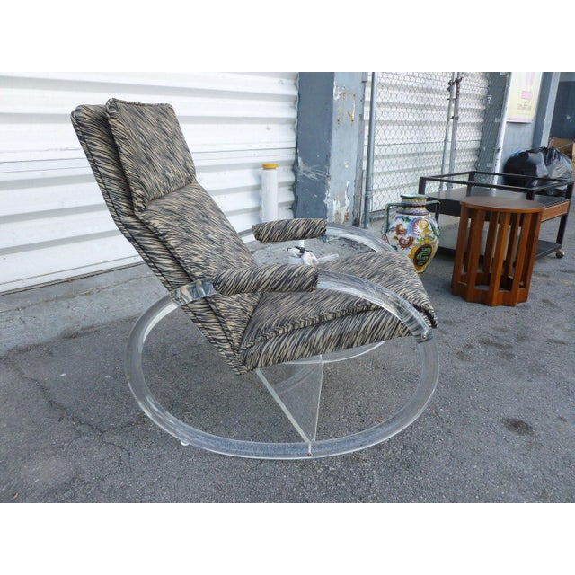 Charles Hollis Jones 1970's Vintage Hollis Jones Lucite Rocking Chair For Sale - Image 4 of 9
