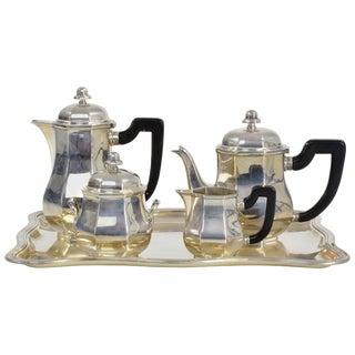 French Art Deco Ercuis Silverware Tea Service For Sale