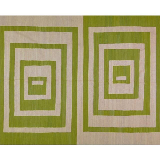 Green Maimana Afghan Kilim - 7′10″ × 9′7″ - Image 6 of 6