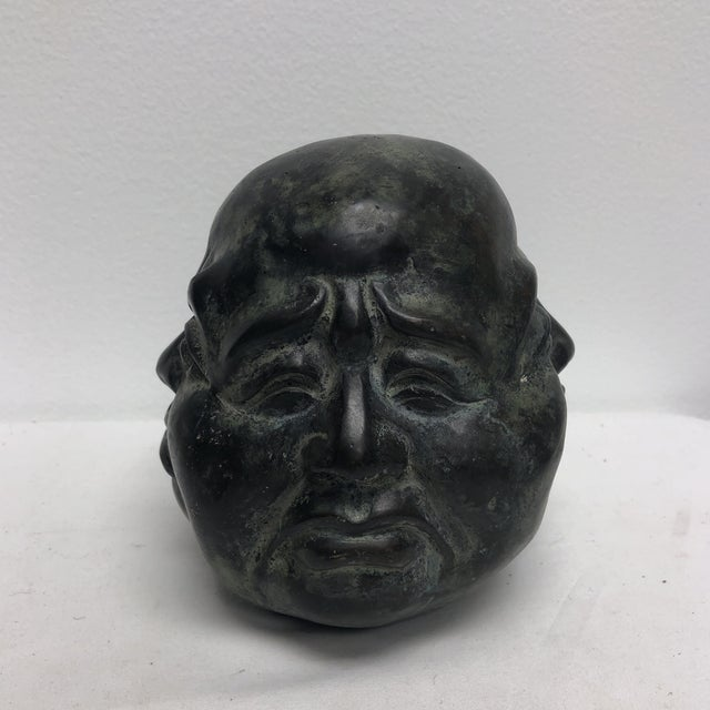 Asian 1980s Chinese Metal Oriental Four Face Buddha Figurine - Large For Sale - Image 3 of 6