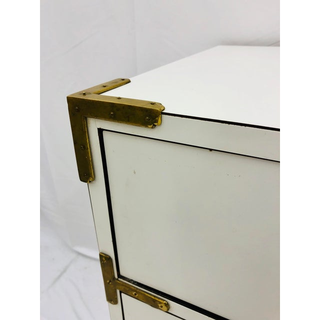 Off-white Vintage Campaign Style Dresser Chest For Sale - Image 8 of 10