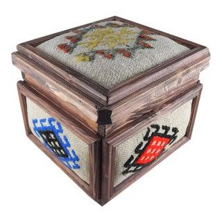 Turkish Kilim Box, Vintage Wooden Unique Chest, Mothers Day Present, Jewellery Box, Decorative Storage, Rustic Wedding Decor, Ethnic Farmhouse Decor For Sale