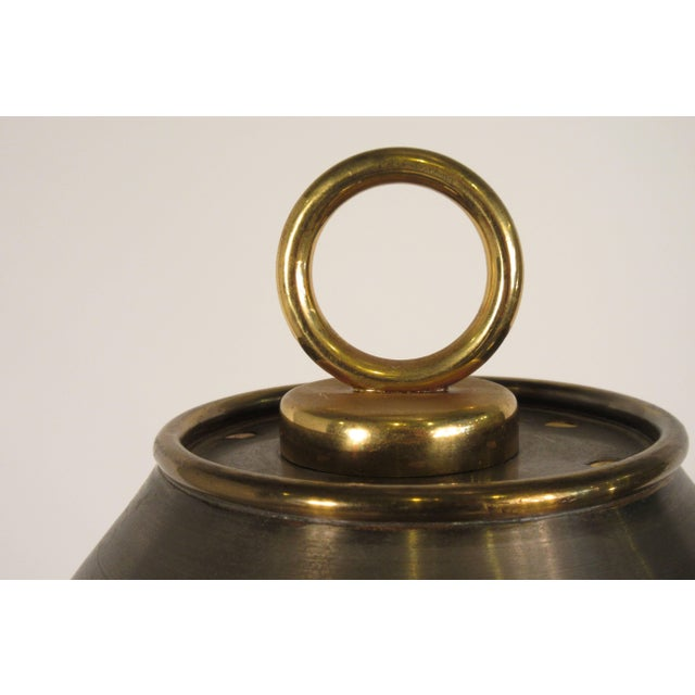 1970s Metal Orb Lamp With Metal and Brass Shade For Sale - Image 11 of 12