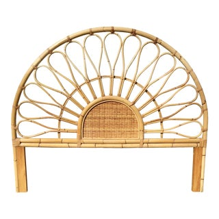 Boho Chic Rattan Queen Size Headboard For Sale