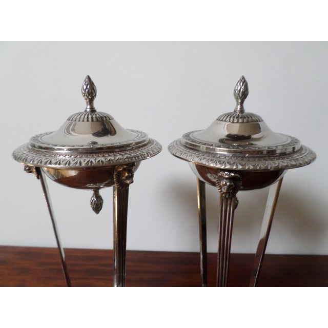 A pair of Vintage Bombay Company Regency style silver plate sweetmeat or candy dishes in the form of miniature torcheres,...