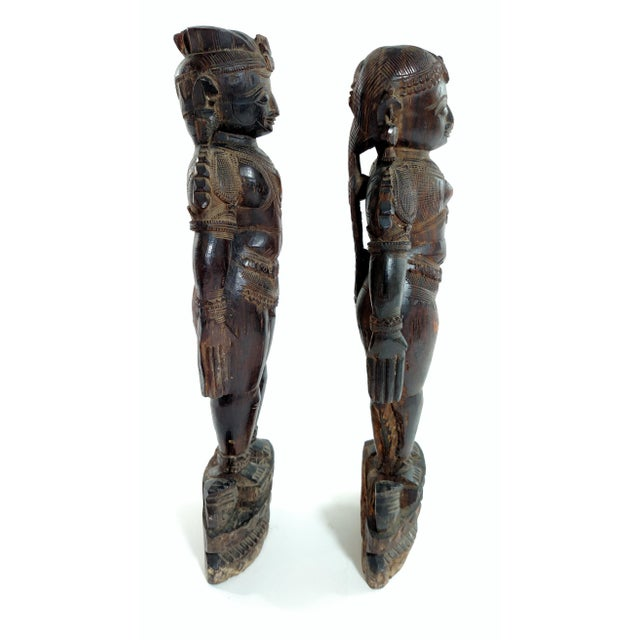 Antique Carved Indian Figures - A Pair - Image 3 of 7