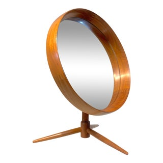 Danish Teak Flip-Top Swivel Vanity Mirror by Pedersen & Hansen For Sale