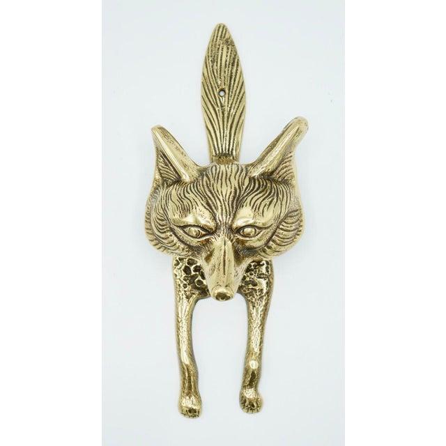 Vintage Brass Fox Door Knocker For Sale - Image 4 of 9