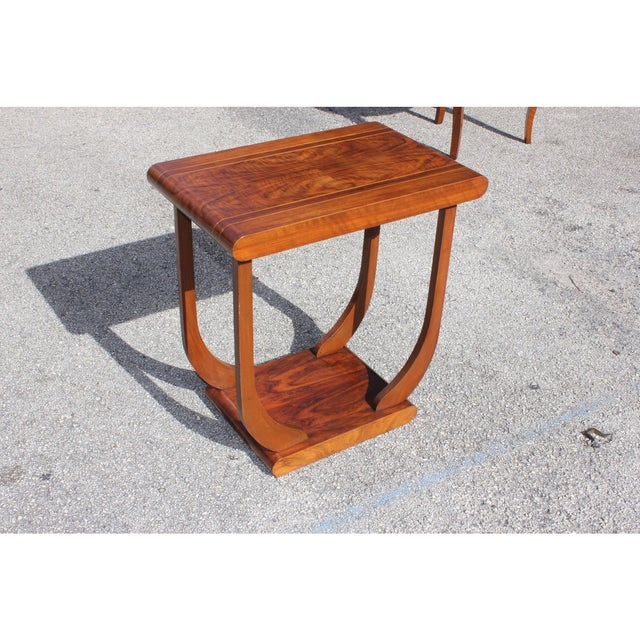 Brown 1940s Art Deco Exotic Walnut Side Table For Sale - Image 8 of 12