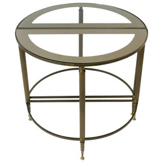 Directoire Brass and Glass Round Side or Drinks Table For Sale